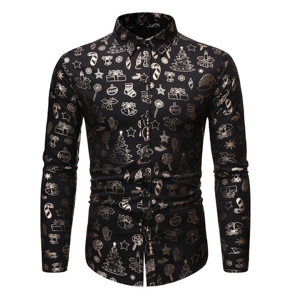 Men's Casual Long Sleeve Button Down Dress Shirts Tops 2019 Shiny Black Floral Print Christmas Shirt Men Business Casual Shirt