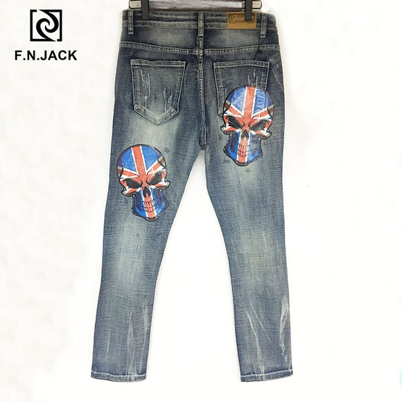 F.N.JACK  Mens Jeans Cool Guy Slim Straight Full Length Zip Fly Denim Pants for man