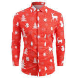 Funnyshirt Printed Long Sleeve Button Men Clothes Casual Snowflakes Christmas deer Printed Christmas Shirt New Year Party Blouse