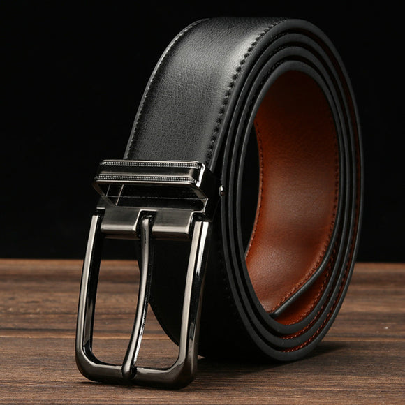 cowhide genuine leather belts for men male pin buckle jeans Waist Belt Mens black brown two sides color Belt ceinture homme