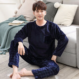 Autumn Winter Long Sleeve Warm Flannel Men's Cartoon Pajama Sets Thick Men Sleepwear Coral Fleece Sleep Lounge Pajamas Clothing