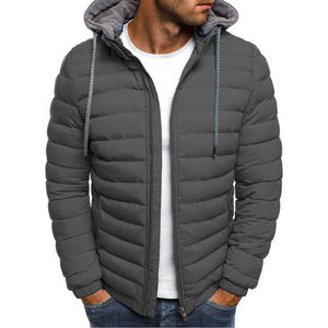 HEFLASHOR Men Lightweight Windproof Warm Packable Casual Jacket Hooded Coat Causal Zipper Parka Clothes Streetwear Men Coat