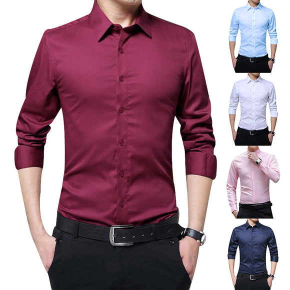 2019 New Autumn Mens Long Sleeve Shirts Slim Fit Solid Color Business Formal Professional Shirts Male Comfortable Shirt