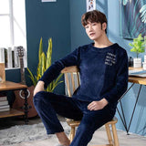 2019 Winter Thick Warm Blue Flannel Pajama Sets for Men Long Sleeve Coral Velvet Sleepwear Suit Loungewear Homewear Home Clothes