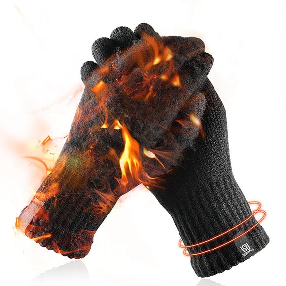 Cyling golves Winter gloves Knitted Wool Touch Screen Gloves Men Warm Short Plush Lining Full Finger Glovess Gloves