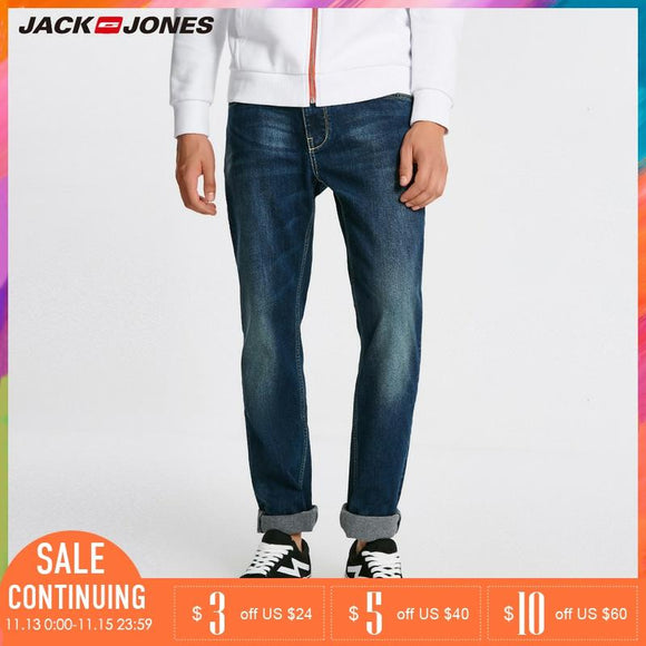 Jack Jones Men Warm Cotton Solid Straight Denim Trousers Biker Jeans | 218432505