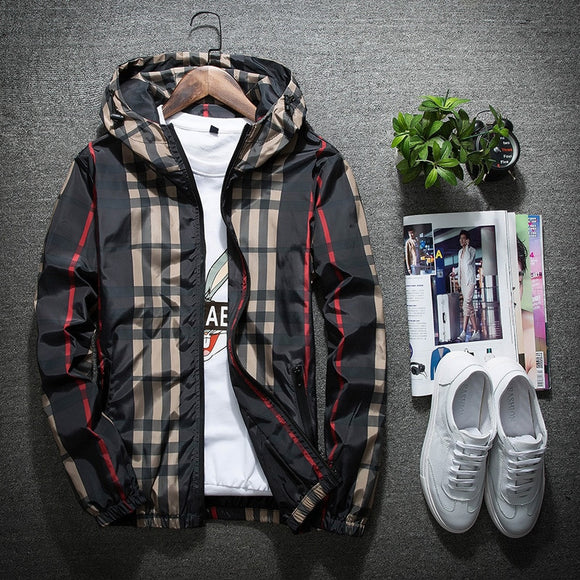 Jacket Men's 2018 Spring New Style Hooded Casual Coat Teenager Students Versatile Plaid Business Attire
