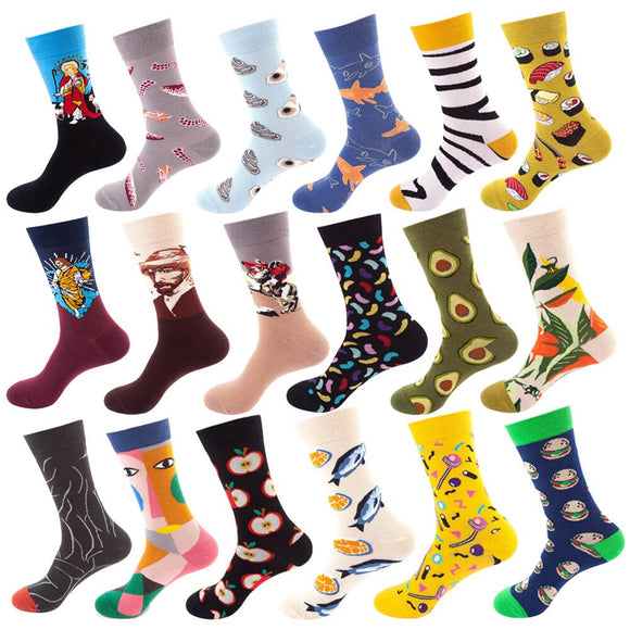 Women Socks Funny Cute Cotton Omelette Japanese Harajuku skateboard Socks Hamburger Happy Avocado Fruit Egg Socks Christmas Gift