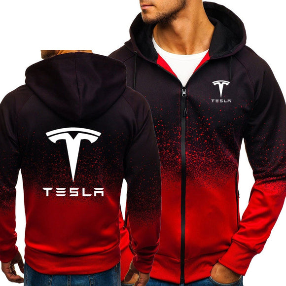 Hoodies Men Tesla Car Logo Print Casual HipHop Harajuku Gradient color Hooded Fleece Sweatshirts zipper Jacket Man Clothing