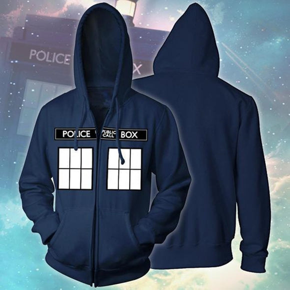 Men Women Hoodies TV Doctor Who Full Printed Long Sleeve Zipper Hooded Coat Blue Unisex Jumper Sweatshirt Streetwear