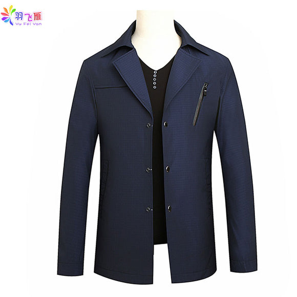 2019 Spring Men's Casual Jacket Blue 8XL Big Size Suit Jacket Turn Down Collar Single Breasted Windbreaker Jackets and Coats