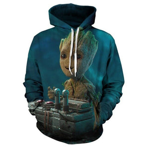 New Men's Groot Baby Hoodie Fashion Men's Groot Sports Hoodie Baby Galaxy Guardian Funny Novelty 3D Jacket