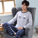 Mens Patchwork Sleepwear Long Sleeve Cotton Pyjamas O-neck Casual Home Clothing Nightwear Tops+Pants Underwear 2PCS men pajamas