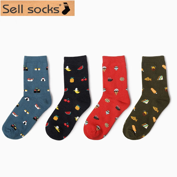 winter new fashion Korea creative cartoon life food sushi watermelon male and female short tube cotton socks EUR36-40