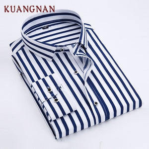 KUANGNAN Striped Smart Men Shirt Long Sleeve Casual Slim Fit Streetwear Men Shirt Man Cotton Striped Shirt Men Clothes 2019 New