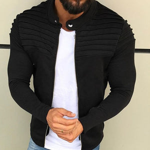 New Men's Winter Zip up Slim Collar Shoulder Ruched Jacket Tops Long Sleeve Casual Coat Outerwear Fleece jacket