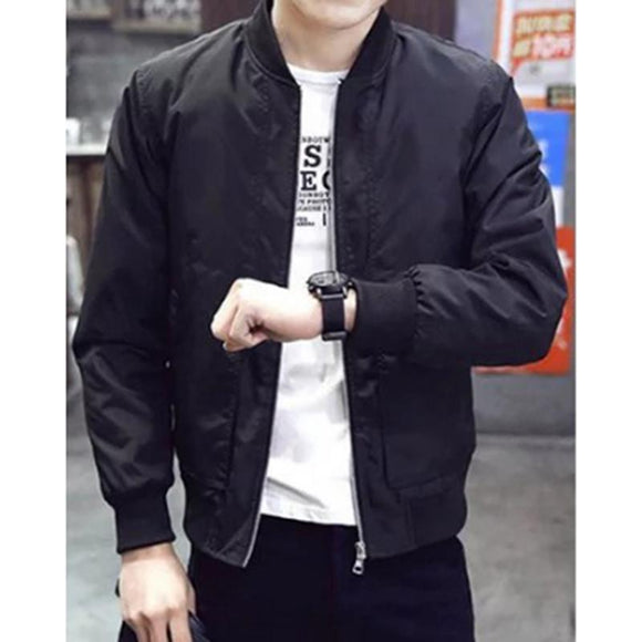 Men Casual Solid Stand Black Zipper Jacket Windproof Baseball Street Jacket Sports Pilot Coat
