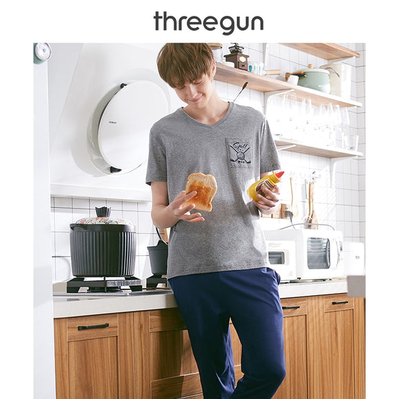 THREEGUN Cotton men's pajamas 2019 New soft V-neck short-sleeved tops & trousers Sleepwear Men Home Clothes men pijama hombre