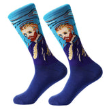 LETSBUY 1pair Combed Cotton Colorful Van Gogh Retro Oil Painting Men Socks cool casual Dress Funny party dress crew Socks