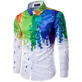 Plus size men's casual colour shirt ink splash paint color slim shirts leisure 6 personality color long sleeve Shirt
