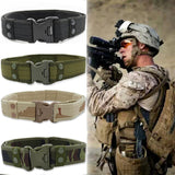 Men's Belt Tactical Military Canvas Belt Outdoor Army Camouflage Waistband with Plastic Buckle Military Training Equipment