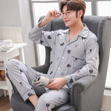 Cotton Pyjama Men Set Spring Turn-down Collar Pijama Men Sleepwear Suit Long Sleeve Pajama Man Two Piece Autumn Pajama Male XXXL
