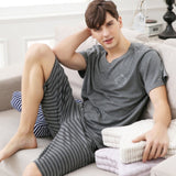 Summer New Knitted Cotton Short Sleeved Men Pajamas Sets Male Pajama Set Letter Pajama For Men Sleepwear Suit Homewear Size Xxxl