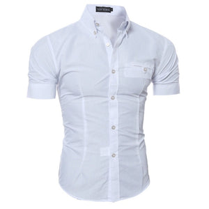 2018 Fashion 8 Colors Luxury Men's Slim Fit Shirt Short Sleeve Business Casual Shirts Plus Size 3XL
