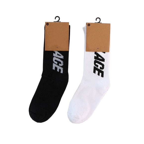 Black and white letters simple style Fashion hip hop Crew Men's Socks Happy Funny sport Sock