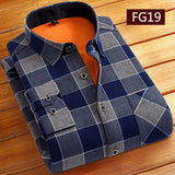Fashion Men Winter Warm Flannel Plaid Dress Shirts Cotton Long Sleeve Men Work Shirts Brand Casual Slim Fit Camisa Social Shirts
