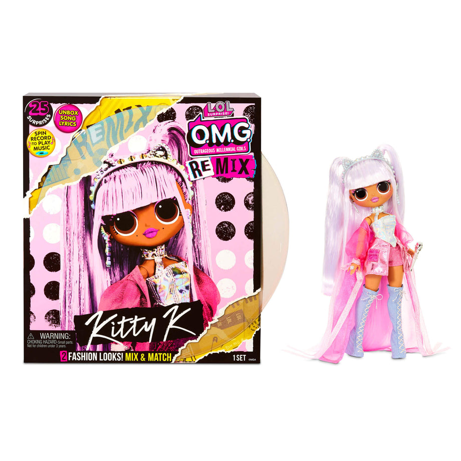 LOL Surprise OMG Remix Kitty K Fashion Doll - 25 Surprises with Music