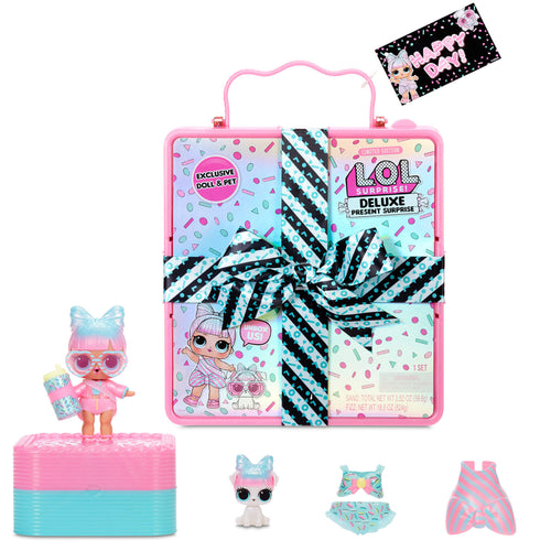LOL Surprise Deluxe Present Surprise with Limited Edition Miss Par-tay Doll and Pet, Pink