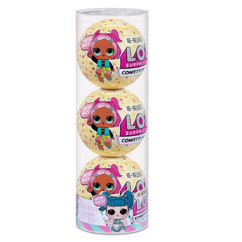 LOL Surprise Confetti Pop 3 Pack Glamstronaut - 3 Re-released Dolls Each with 9 Surprises