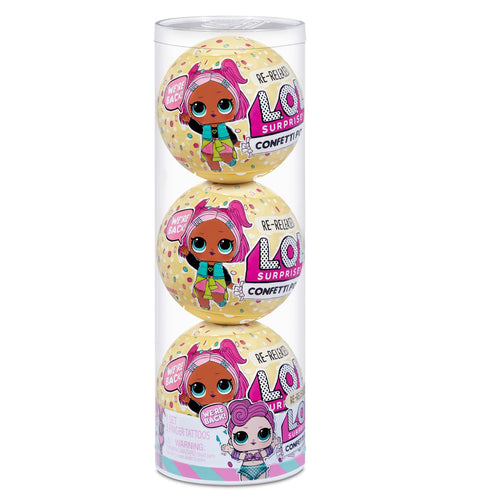 LOL Surprise Confetti Pop 3 Pack Waves - 3 Re-released Dolls Each with 9 Surprises