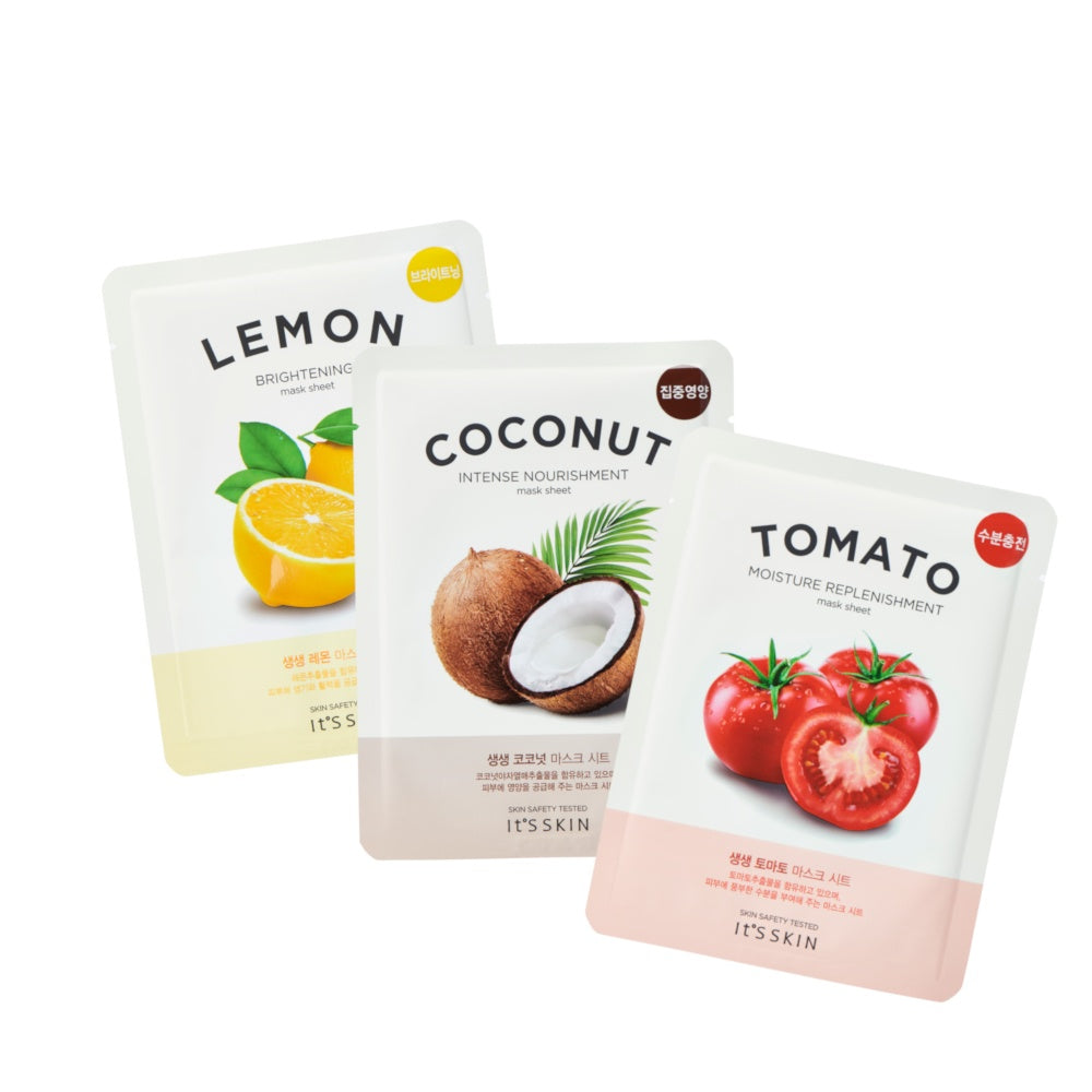 Health & Beauty > Personal Care > Cosmetics > Skin Care > Compressed Skin Care Mask Sheets - Zestaw The Fresh Mask Sheets (Coco, Lemon, Tomato)