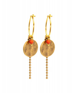 Hultquist Mini Coral Coin Hoop Earring - Gold