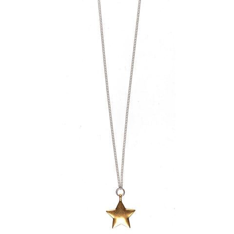 Hultquist Gold Star on Silver Necklace