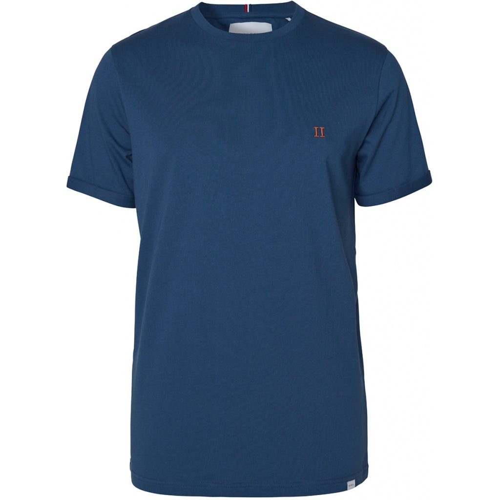 Les Deux Norregaard T-Shirt - Denim Blue/Orange