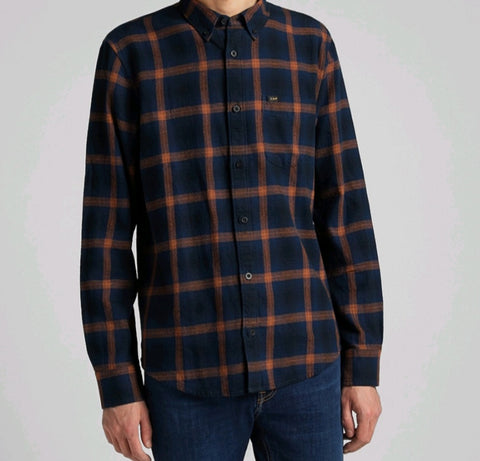Lee Check Shirt - Navy/Orange