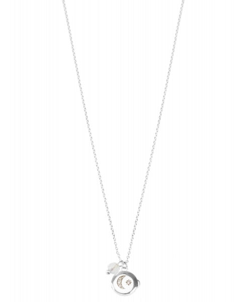 Hultquist Moon & Star Locket Necklace - Silver