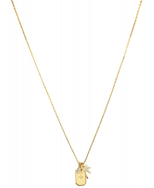 Hultquist Palm Tree & Dog Tag Necklace - Gold