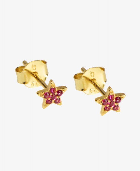 Hultquist Ruby Star Earstud - Gold