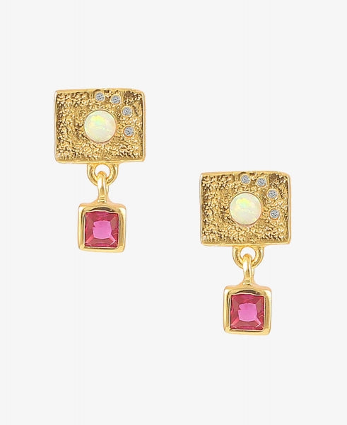 Hultquist Pink Opalus Earrings - Gold