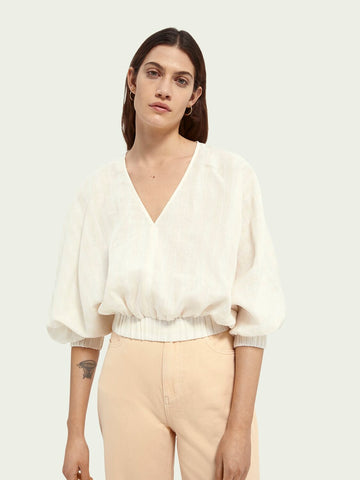 Maison Scotch Top with Voluminous Sleeves - Off White