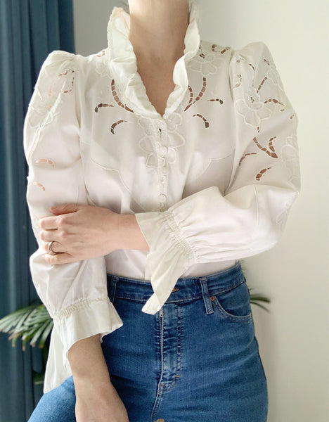Vintage Embossed Floral Traditional Cotton Blouse