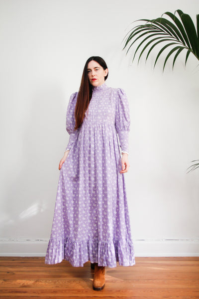 Vintage Laura Ashley Prairie Lavender Maxi Length Rare