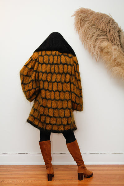 1980's Mohair Dramatic Knitted Wool Cardigan Coat