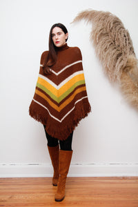 Vintage Knitted Wool Fringed Cape