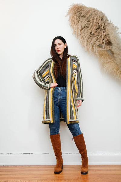 70's Epic Knitted striped Wool Cardigan Maxi