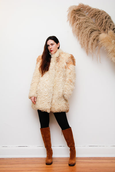 70's Mongolian Curly Lamb Sheepskin Coat